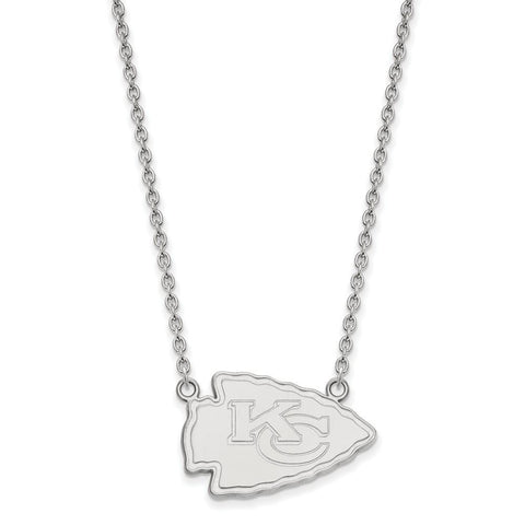 Kansas City Chiefs Large Pendant Necklace in 10k White Gold