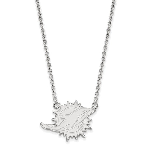 Miami Dolphins Large Pendant Necklace in 14k White Gold