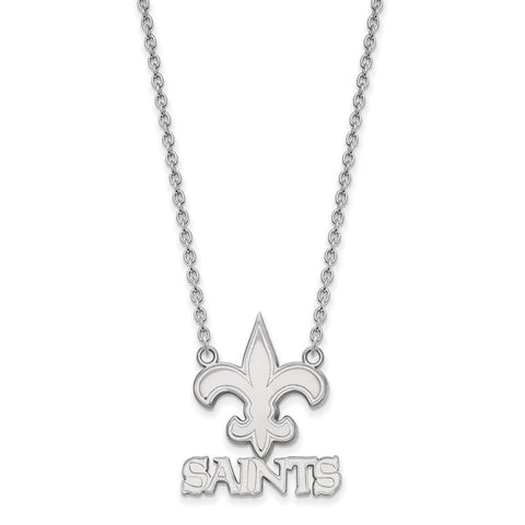New Orleans Saints Large Pendant Necklace in 14k White Gold