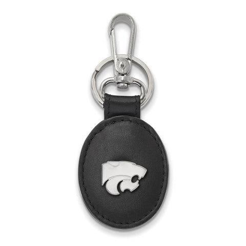Kansas State Wildcats Black Leather Oval Key Chain