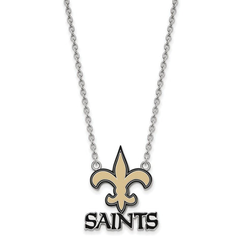 New Orleans Saints Large Pendant Necklace in Sterling Silver