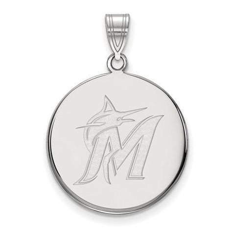 Miami Marlins Large Disc Pendant 10k White Gold