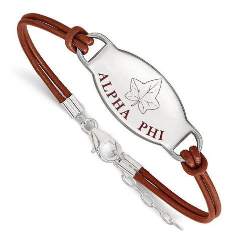 Alpha Phi Enameled Leather Bracelet