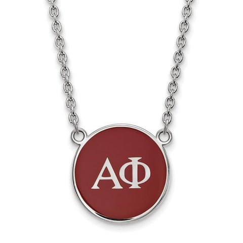 Alpha Phi Small Enameled Pendant with 18 Inch Chain