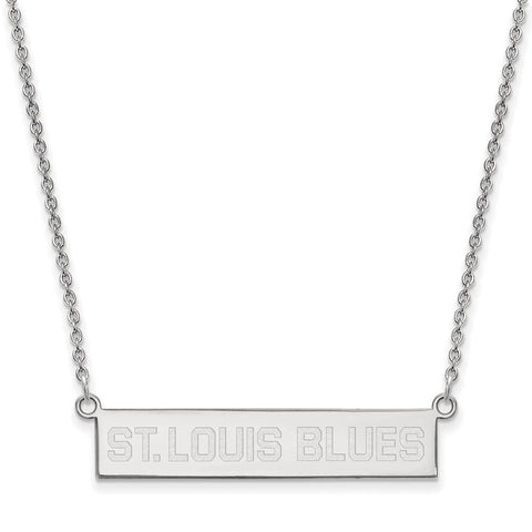 St. Louis Blues Small Bar Necklace Sterling Silver