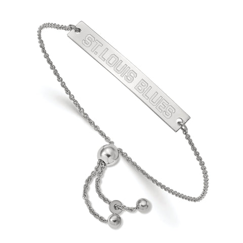St. Louis Blues Small Bar Adjustable Bracelet Sterling Silver