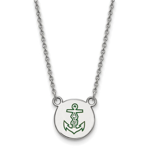 Alpha Sigma Tau Extra Small Enameled Pendant with 18 Inch Chain