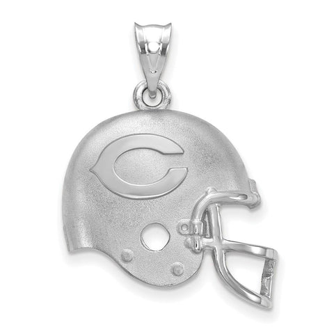 Chicago Bears Football Helmet with Logo Pendant in Sterling Silver