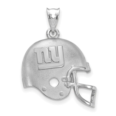 New York Giants Football Helmet with Logo Pendant in Sterling Silver