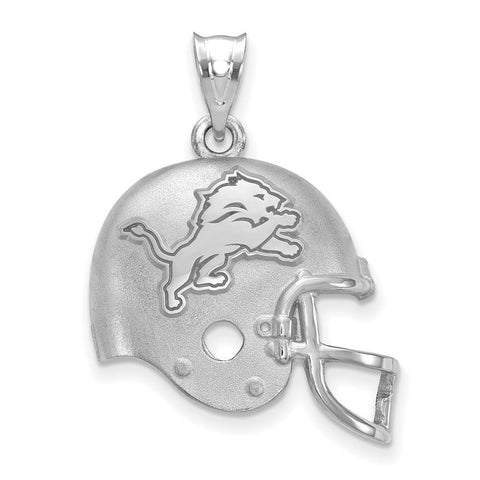 Detroit Lions Football Helmet with Logo Pendant in Sterling Silver
