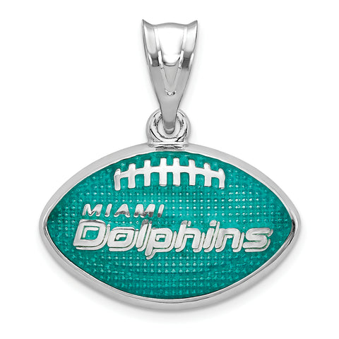 Miami Dolphins Enameled Football Pendant in Sterling Silver