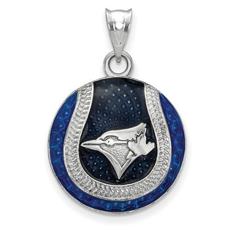Toronto Blue Jays Baseball Pendant - Silver and Enamel
