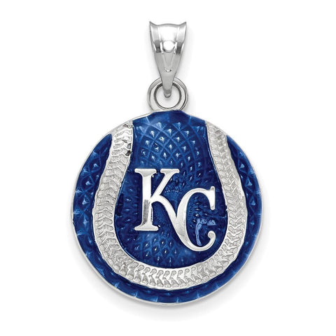 Kansas City Royals Baseball Pendant - Silver and Enamel