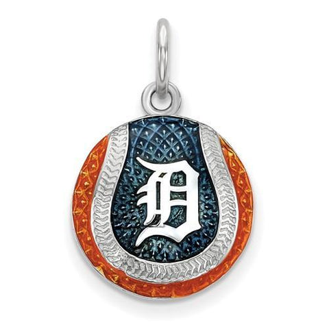 Detroit Tigers Baseball Charm - Silver and Enamel