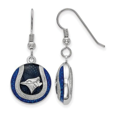 Toronto Blue Jays Baseball Earrings - Silver and Enamel