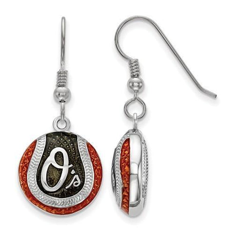 Baltimore Orioles Baseball Earrings - Silver and Enamel