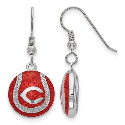 Cincinnati Reds Baseball Earrings - Silver and Enamel