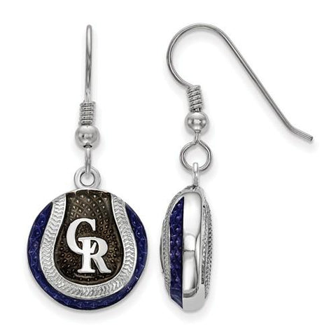Colorado Rockies Baseball Earrings - Silver and Enamel