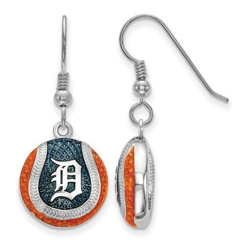 Detroit Tigers Baseball Earrings - Silver and Enamel