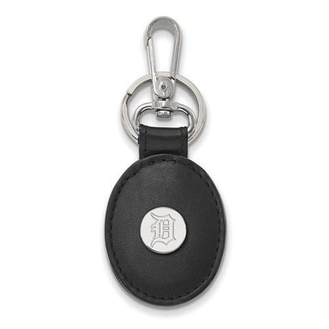 Detroit Tigers Black Leather Oval Key Chain
