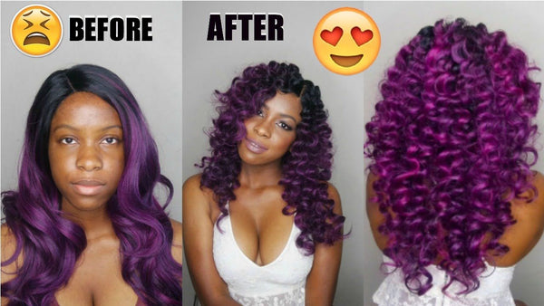 Curling a synthetic wig
