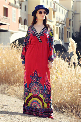 Hiiro Oriental Print Kaftan Dress