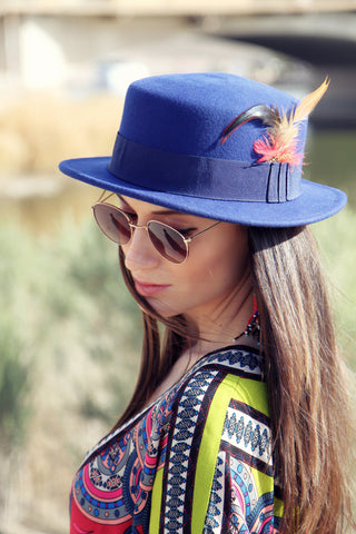 Blue Ink Boater Hat