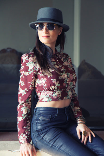 Flower Power Long Sleeve Crop Top