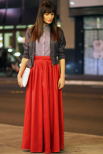 Bloody Lollipop Pleated Maxi Skirt