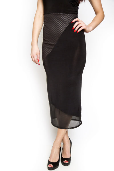 Black Swan Mix Texture Sleeveless Dress