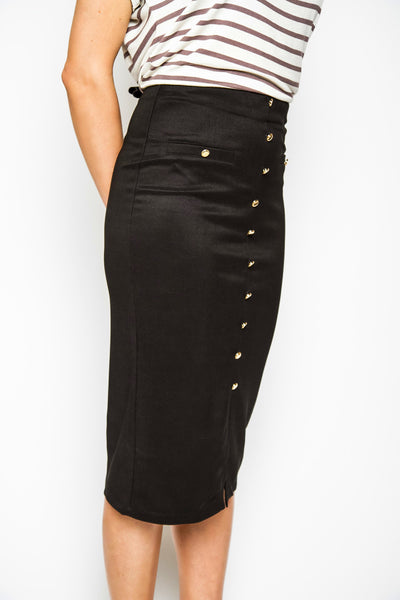 Black Rose High Waisted Midi Skirt
