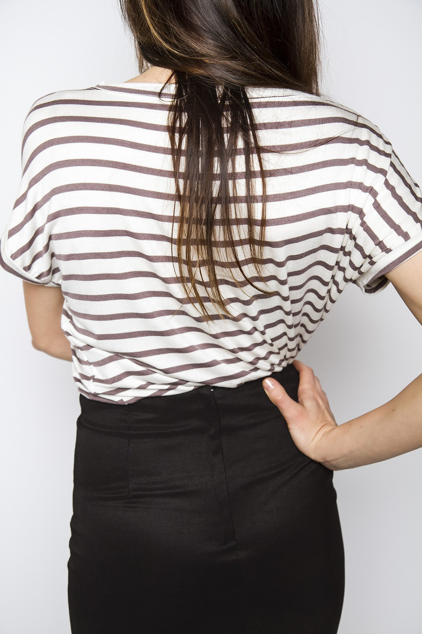 Mocha Striped Jersey Top