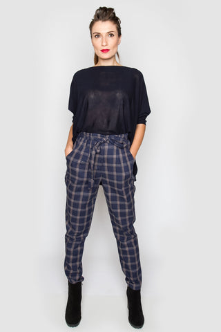 Kimberly Navy Plaid Pants