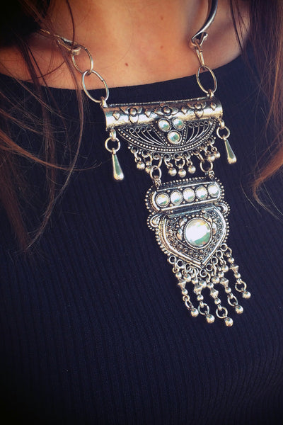 Bohemian Antique Metal Fringe Choker