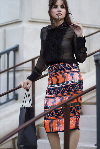 Sunset Sequin Embellished Pencil Skirt