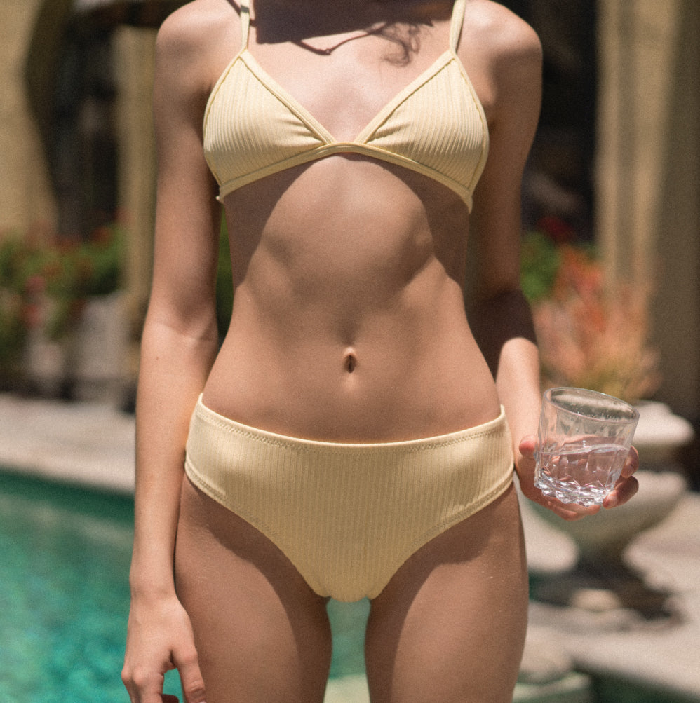 Dillon Bottom - Yellow Rib - Static Swimwear - Modern Minimalist Bikinis - Made in Los Angeles