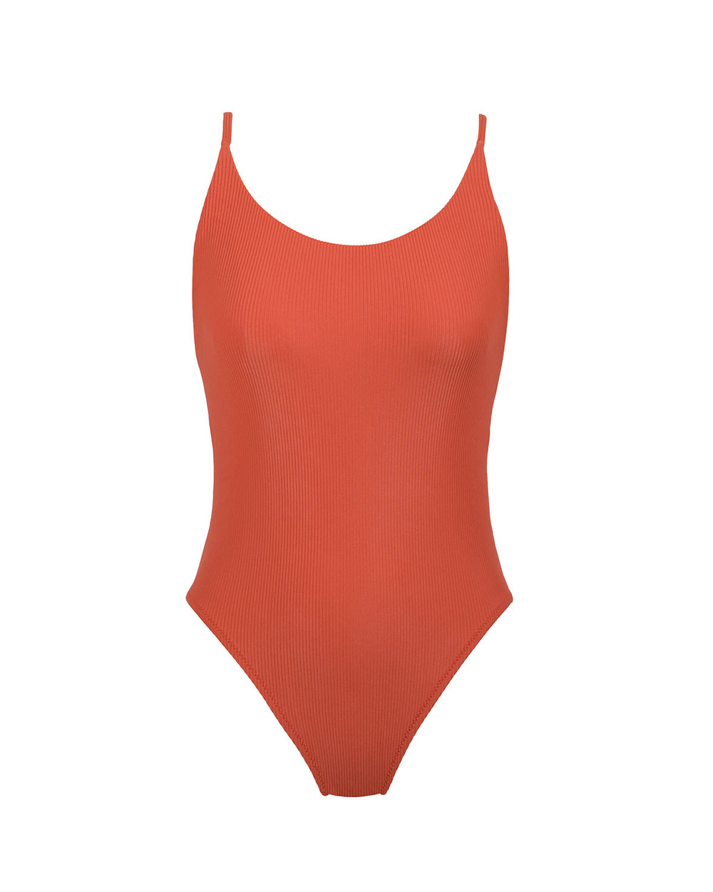 Pacific One Piece - Burnt Orange Rib - Static Swimwear - Modern Minimalist Bikinis - Made in Los Angeles
