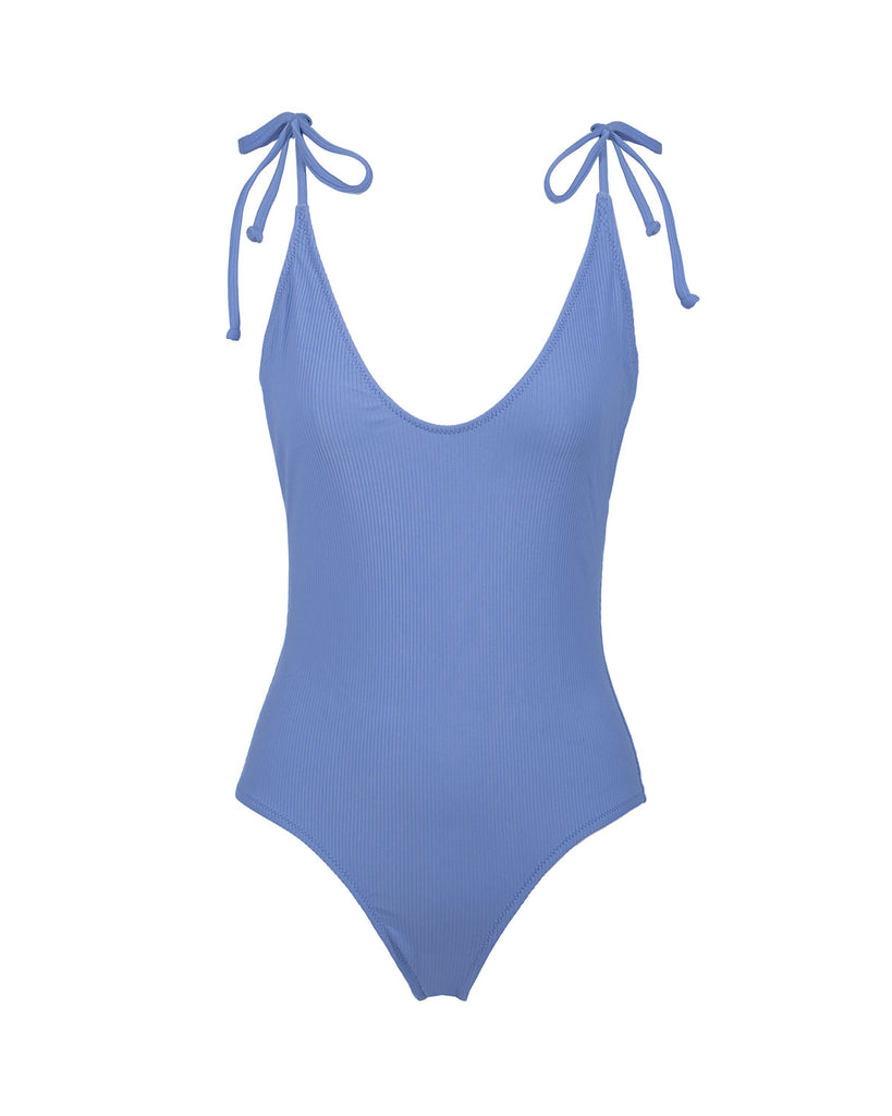Robertson One Piece - Periwinkle Rib - Static Swimwear - Modern Minimalist Bikinis - Made in Los Angeles