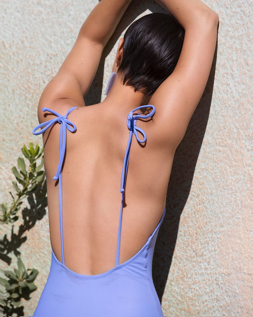 Pacific One Piece - Periwinkle Rib - Static Swimwear - Modern Minimalist Bikinis - Made in Los Angeles
