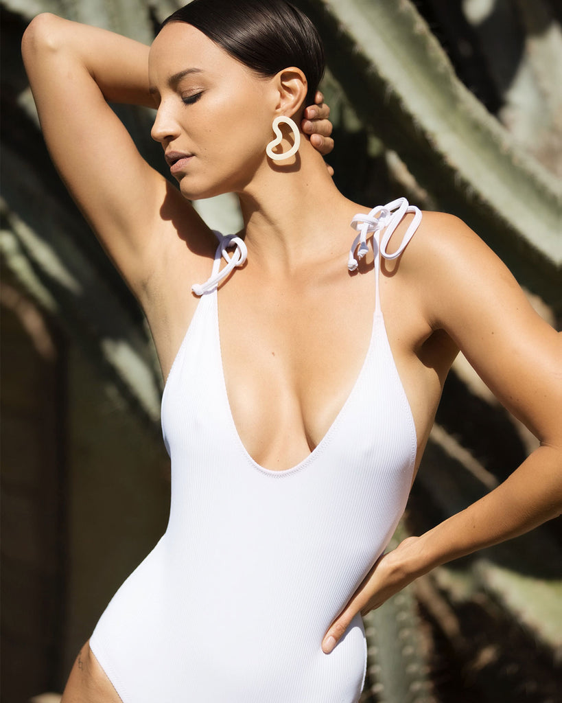 Robertson One Piece - White Rib - Static Swimwear - Modern Minimalist Bikinis - Made in Los Angeles