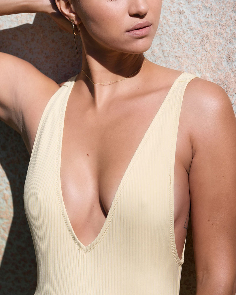 Vermont One Piece - Yellow Rib - Static Swimwear - Modern Minimalist Bikinis - Made in Los Angeles