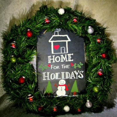 How to Create an Easy DIY Holiday Chalkboard Wreath to Greet Your Guests