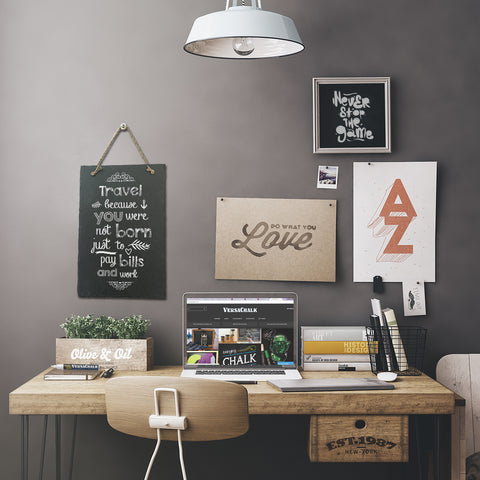 Home office decorated with chalkboard inspired artwork