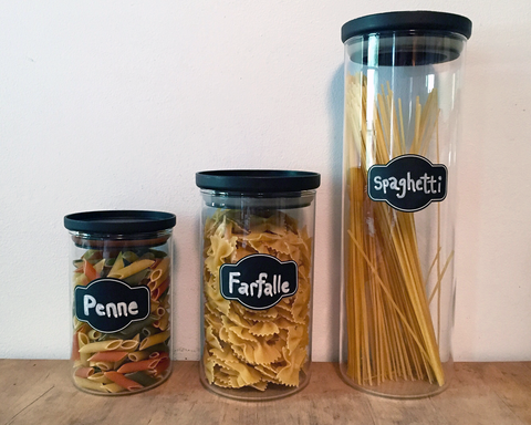 Pasta bottles labeled with Chalk labels