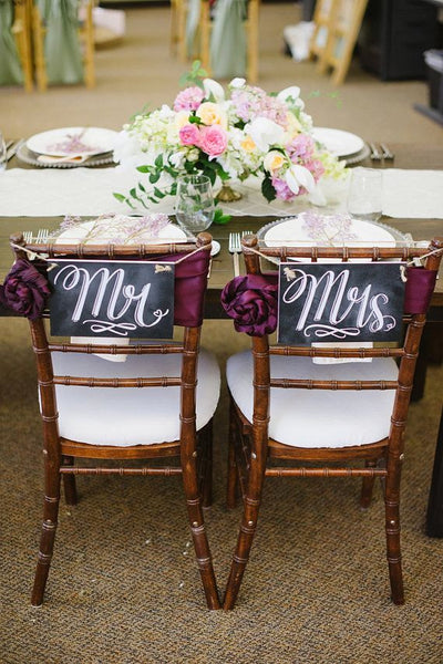 chalkboard Mr & Mrs chairs