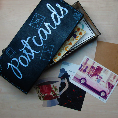 DIY Postcard box using chalkboard paper