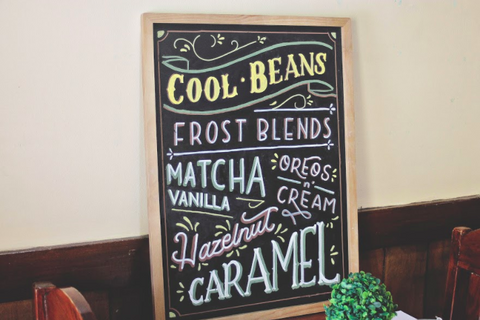 chalkboard menu for cafe