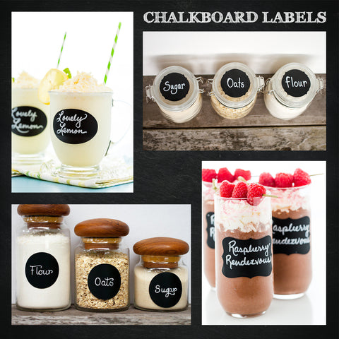 Chalkboard labels on bottles and cups