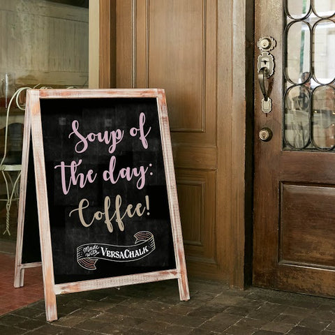 You Can Use Chalkboards For Business, Too. Having A Lovely Kickstand  Chalkboard Sign Before Your Customers Come In Can Definitely Put A Smile On  Faces.
