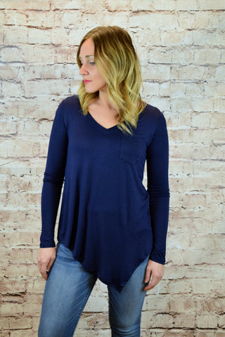 Alexandria V-Neck Pocket Asymmetrical Top - Navy